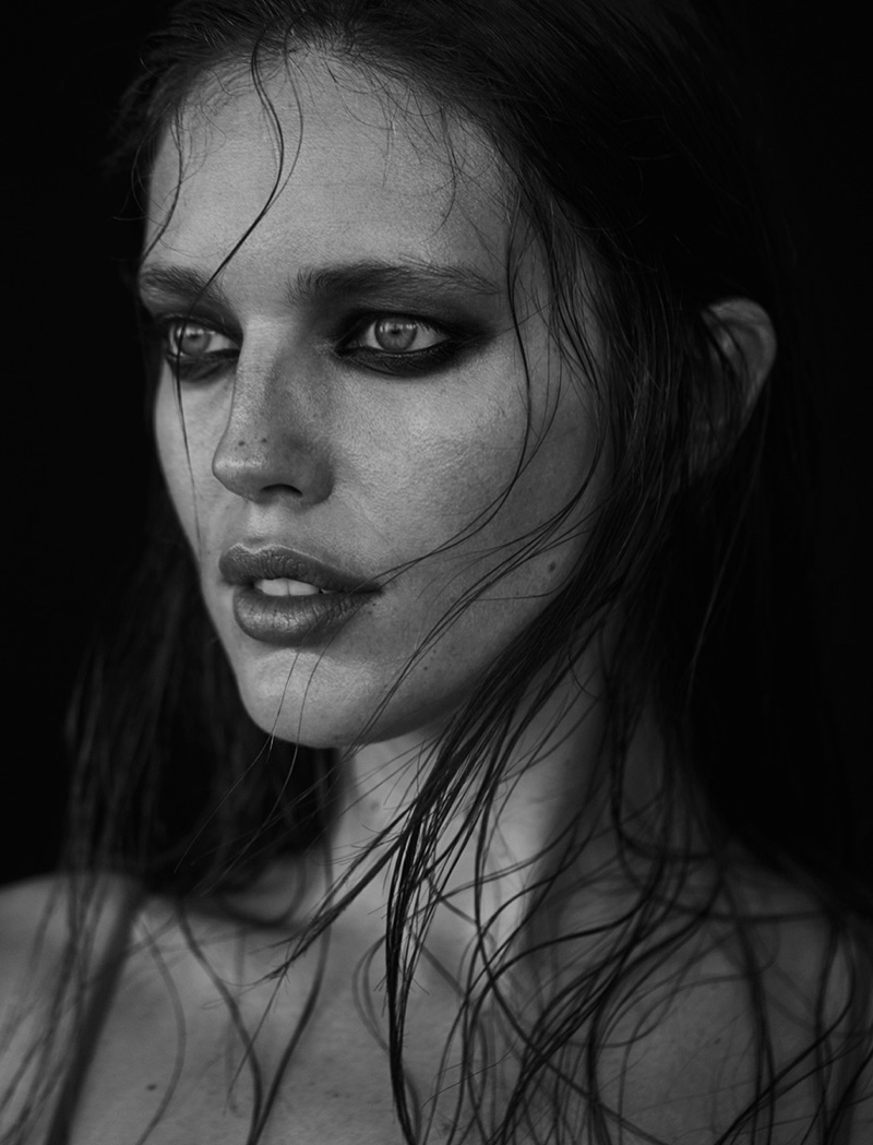 Photographed in black and white, Emily DiDonato shows off the wet hair look