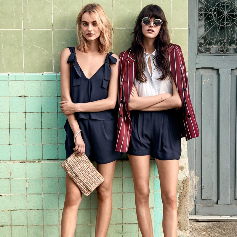(Left) H&M Romper, Straw Clutch Bag and Mules (Right) H&M Sleeveless Blouse, Wide-Cut Shorts and Espadrilles